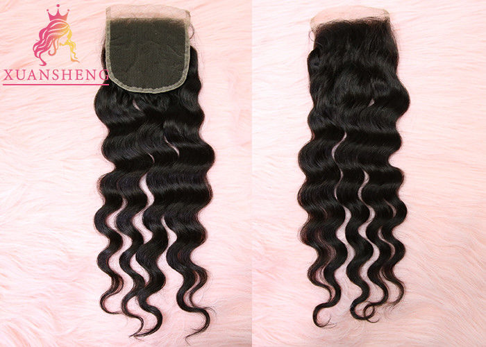 Swiss 4x4 Lace Closure Loose Wave Closure Human Brazilian Hair Weave